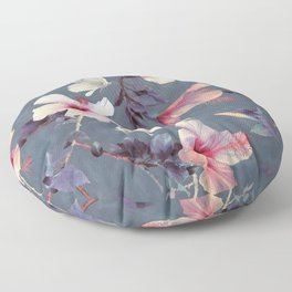 Butterflies and Hibiscus Flowers - a painted pattern Floor Pillow