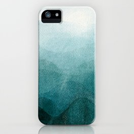 Sunrise in the mountains, dawn, teal, abstract watercolor iPhone Case