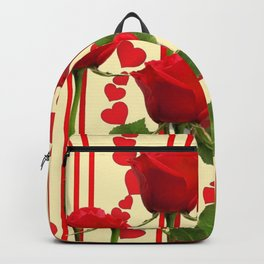 YELLOW SCARLET ROSES & RED VALENTINE HEARTS Backpack