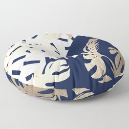 Simply Tropical Nautical Navy Memphis Palm Leaves Floor Pillow