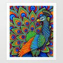 Colorful Paisley Peacock Rainbow Bird by psychedeliczen