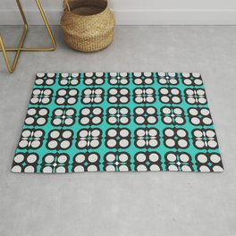 Geometric circle cross flowers check Cyan Rug