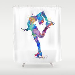 Ice Skating Girl Colorful Watercolor Art Sports Art Gift Shower Curtain