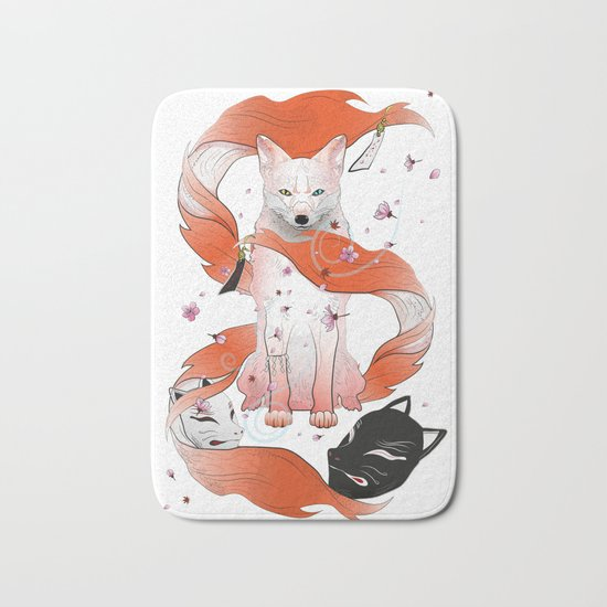 Red Kitsune Bath Mat