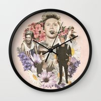 niall horan Wall Clocks featuring Niall Horan + Flowers by Ladsandstuff