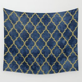 Classic Quatrefoil Lattice Pattern 428 Blue and Gold Wall Tapestry