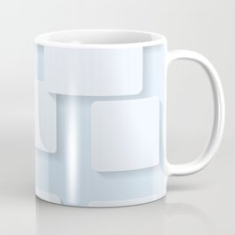 WHITE SQUARES ON A LIGHT BLUE BACKGROUND Abstract Art Coffee Mug