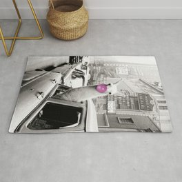 Perfect Pink Bubble Gum Llama taking a New York Taxi black and white photograph Rug