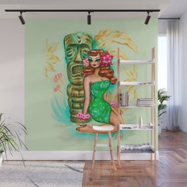 Tropical Pinup Girl with Tiki Wall Mural