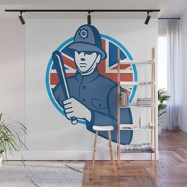 British Bobby Policeman Truncheon Union Jack Flag Wall Mural