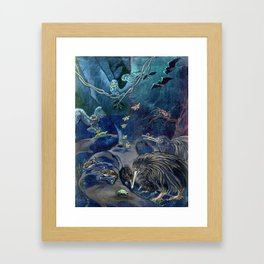 Kiwi, Bats, Morepork and More Framed Art Print