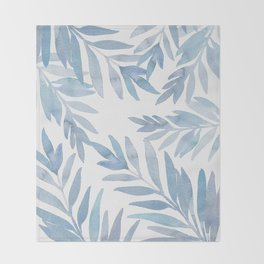 Muted Blue Palm Leaves Throw Blanket