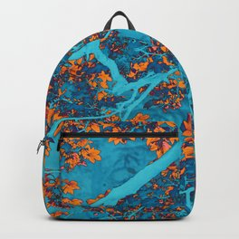 Colourful blue and orange trees Backpack