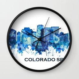 Colorado Springs Colorado Skyline Blue Wall Clock