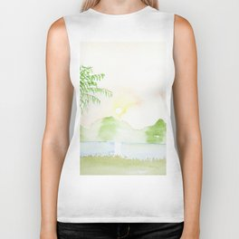 Palm tree in a sunset Biker Tank