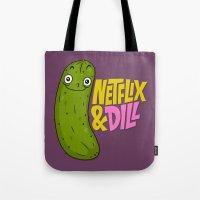 netflix Tote Bags featuring Netflix & Dill by Chris Piascik