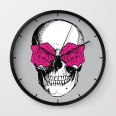 Skull and Roses   Grey and Pink Wall Clock