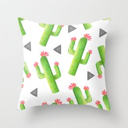 Pretty Watercolor Cactus Pattern Throw Pillow