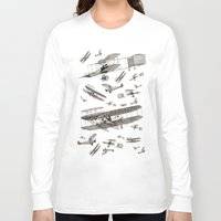 airplanes Long Sleeve T-shirts featuring airplanes 2 by Кaterina Кalinich