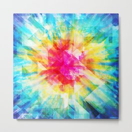 GEOMETRIC TIE DYE (Rainbow, Multi color) Metal Print