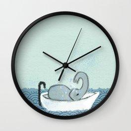 Elephant Takes A Bath Wall Clock