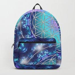 Flower Of Life Mandala Fractal turquoise Backpack