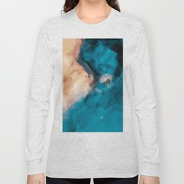 vintage splash painting texture abstract in blue and brown Long Sleeve T-shirt