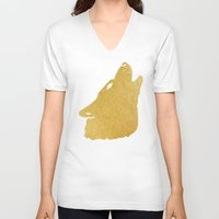 gold foil V-neck T-shirts featuring Gold Foil Wolf by Mod Pop Deco