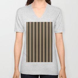 Tan Brown and Black Vertical Var Size Stripes Unisex V-Neck