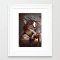 smaug Framed Art Prints featuring Smaug by MATT DEMINO