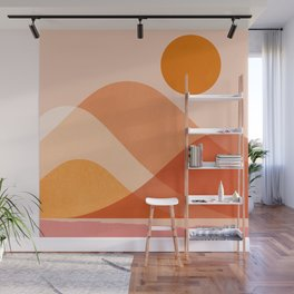 Abstraction_Mountains_Beach_Minimalism_001 Wall Mural