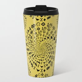 Mandala of Love Symbols from Ancient Cultures on Papyrus Travel Mug