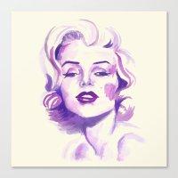 marylin monroe Canvas Prints featuring Monroe by Binkfloyd
