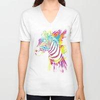 zebra V-neck T-shirts featuring Zebra Splatters by Olechka