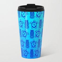 Blue Honu And Tiki Mask Travel Mug