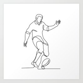 Rugby Player Kicking Ball Continuous Line Art Print