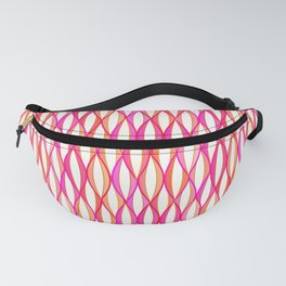 Mid-Century Ribbon Print, Coral and Orchid Pink Fanny Pack