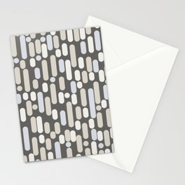 Morningside Heights Midcentury Modern Abstract Pattern in Gray Brown, Beige, Cream, and Light Silver Gray Stationery Cards