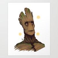 groot Art Prints featuring Groot by Ryan James Art