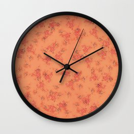 Pink and Orange coral print Wall Clock