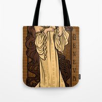 theatre Tote Bags featuring Theatre in Spacetime by Karen Hallion Illustrations