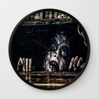 evil dead Wall Clocks featuring Stay Out of the Basement: Evil Dead by Joe Misrasi