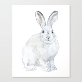 Arctic Rabbit Watercolor Canvas Print