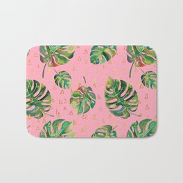 Monstera Gold // Monstera Pattern, Gold Foil Pattern, Lifestyle Digital Collage Pink Bath Mat