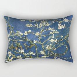 Almond Blossom - Vincent Van Gogh (dark blue) Rectangular Pillow