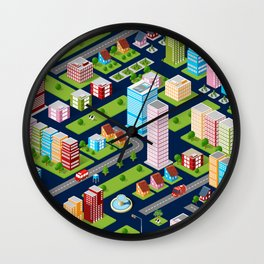 Rooftops skyscrapers city Wall Clock