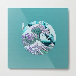 The Great Wave off Kanagawa With Mount Fuji Eruption Metal Print