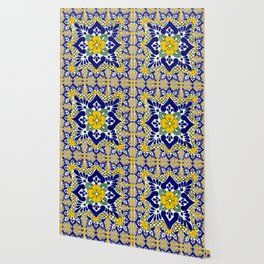 talavera mexican tile in yellow and blu Wallpaper