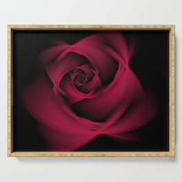 Abstract Rose Burgundy Passion Serving Tray