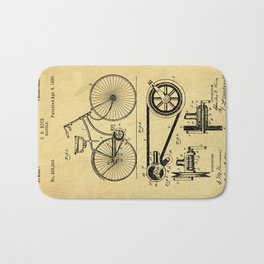 Bicyole Support Patent Drawing From 1890 Bath Mat